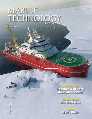 Marine Technology Magazine Cover Sep 2017 - Ocean Observation: Gliders, Buoys & Sub-Surface Networks