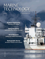 Marine Technology Magazine Cover May 2018 - Hydrographic Survey: Single beam and Multibeam Sonar