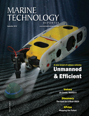 Marine Technology Magazine Cover Sep 2018 - Autonomous Vehicle Operations
