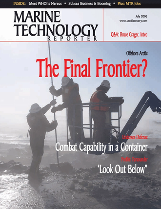 Marine Technology Magazine Cover Jul 2006 - Underwater Defense:  Port & Harbor Security
