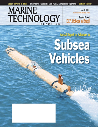 Marine Technology Magazine Cover Mar 2011 - Subsea Vehicles: AUV, ROV, UUV Annual