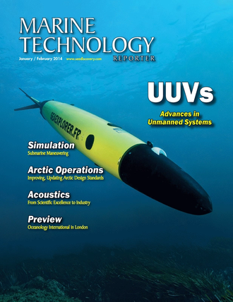 Marine Technology Magazine Cover Jan 2014 - Subsea Vehicles: UUVs