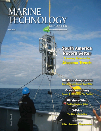 Marine Technology Magazine Cover Apr 2018 - Offshore Geophysical