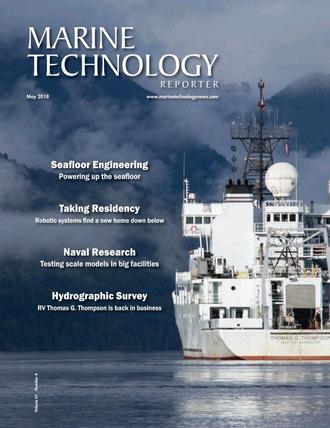 Marine Technology Magazine Cover May 2018 - Hydrographic Survey: Single beam and Multibeam Sonar