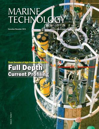 Marine Technology Magazine Cover Nov 2018 - Acoustic Doppler Sonar Technologies ADCPs and DVLs
