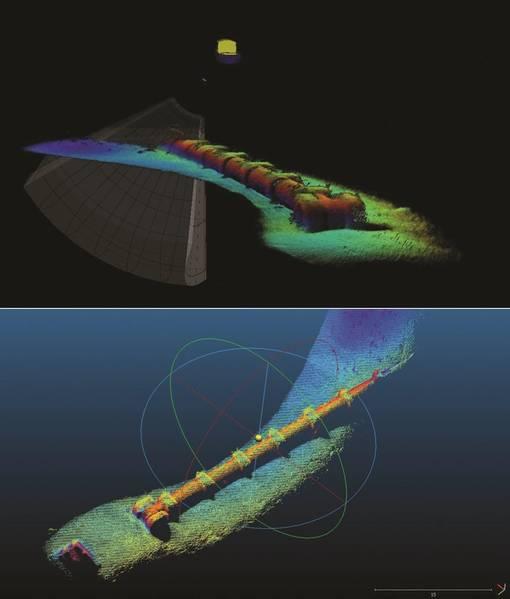 Σχήμα 6 - Δεδομένα Έρευνας Αγωγών - Παραγωγή σε πραγματικό χρόνο στη ΧΡΗΣΗ και μεταγενέστερη επεξεργασία με Cloud Compare (Εικόνα: Coda Octopus)