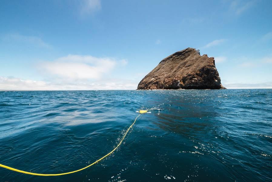 Ο ειδικός της αποστολής Pro 5 προσεγγίζει έναν παράκτιο βράχο στους Γκαλαπάγκους. Εικόνα: VideoRay