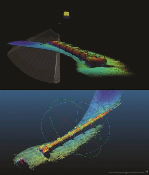 Рисунок 6 - Данные опроса трубопроводов - генерируются в режиме реального времени в USE и после обработки с использованием Cloud Compare (Изображение: Octopus Coda)