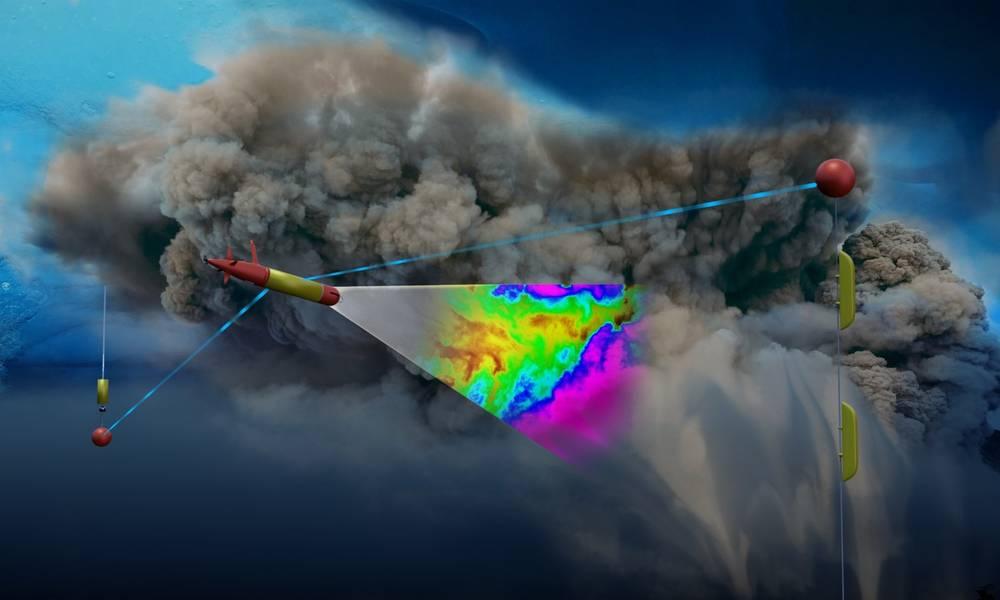 Художественное изображение LRAUV под морским льдом. Используя фотохимические сенсоры, робот сканирует плотность вздымающегося нефтяного облака, выходящего из скважины океанского дна. Красные и желтые объекты являются частями системы связи, состоящей из антенн, подвешенных подо льдом от буя, установленного на поверхности льда. Графика по ADAC.