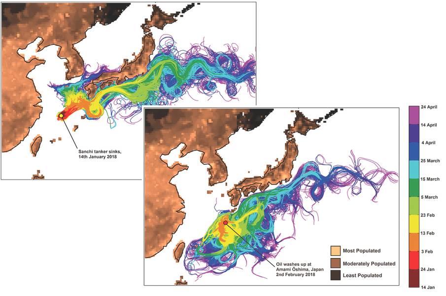 Это показывает траектории виртуальных нефтяных частиц, высвобождающихся из (а) конечного места покоя затонувшего танкера Санчи и (б) вблизи острова Амами-Ошима. (Кредит: Национальный центр океанографии)