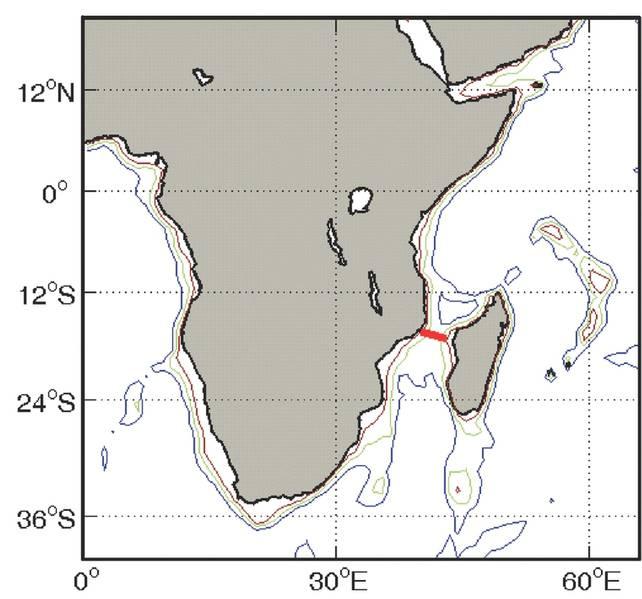 الشكل 2 - موقع مصفوفة الرابطة LOCO في قناة موزامبيق. (الائتمان: H. Ridderinkhof (NIOZ) 2006. https://goo.gl/FrCL2b)