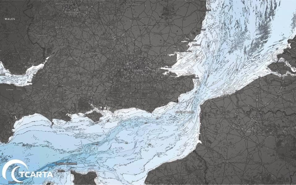 خريطة قاعدة بيانات شركة TCarta البحرية حول المملكة المتحدة (الائتمان: آرون صقر)