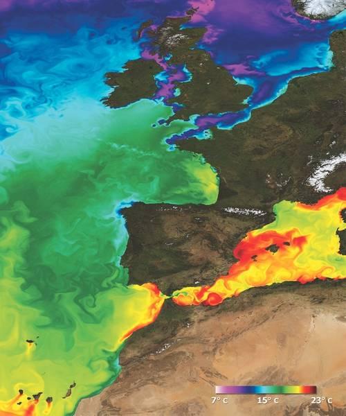 لقطة من درجة حرارة سطح البحر تم تصميمها في شمال المحيط الأطلسي. (الائتمان: Mercator Océan)