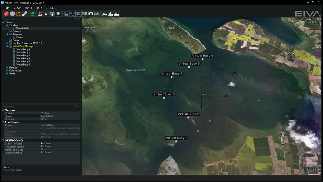 आभासी buoys NaviSuite Perio सॉफ्टवेयर (छवि: EIVA) में एक नक्शा प्रदर्शन के माध्यम से सही स्थानों पर रखा जाता है