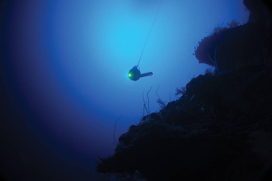 नेकटन फर्स्ट डिसेंट मिशन के दौरान अल्दाबरा में पानी में सोनारडेन के ब्लूकोम डिप्रेसर। फोटो: नेकटन ऑक्सफोर्ड डीप ओशन रिसर्च इंस्टीट्यूट