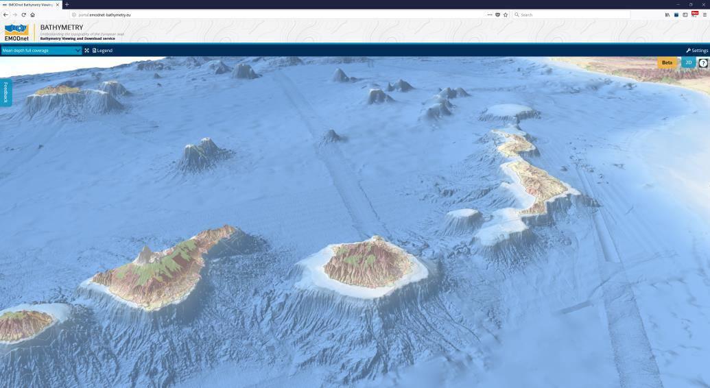 カナリア諸島の3D視覚化(画像:EMODnet)