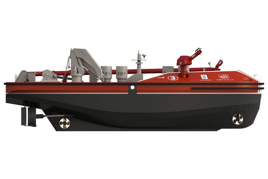 为了解决现代港口不断变化的安全和保安需求,温哥华的海军建筑师和海事工程师Robert Allan Ltd.以及国际海事技术专家Kongsberg Maritime正在合作开发一种全新的远程操作的消防船,攻击危险港口比以往任何时候都更加积极和安全。图片:Kongsberg / RAL