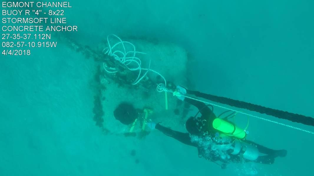 从上面看,潜水员将StormSoft生态系泊系统连接到混凝土沉降片上(照片由美国海岸警卫队提供)