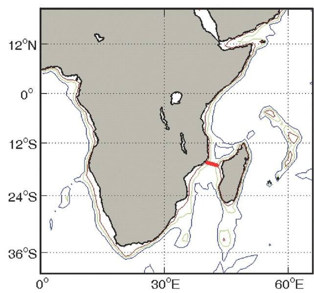 Abb. 2 - Standort des LOCO-Anlegeplatzes in Mosambik Kanal. (Kredit: H. Ridderinkhof (NIOZ) 2006. https://goo.gl/FrCL2b)