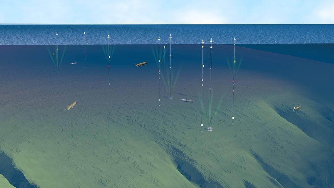 """O Coastal Pioneer Array consiste em três tipos de amarras, planadores oceânicos e veículos submarinos autônomos, tornando-o um dos arrays mais complexos da rede OOI. A estrutura ancorada abrange mais de 160 quilômetros quadrados através da borda inclinada da plataforma continental da Nova Inglaterra. A """"quebra de prateleira"""" biologicamente produtiva é de particular interesse para os cientistas: ela representa uma zona de transição entre água relativamente fresca, pobre em nutrientes perto da costa e água mais rica em nutrientes e mais salgada no rio Dee."""
