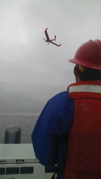 Um Drone VTOL sobre a Baía de Monterey. (Crédito: MBARI)
