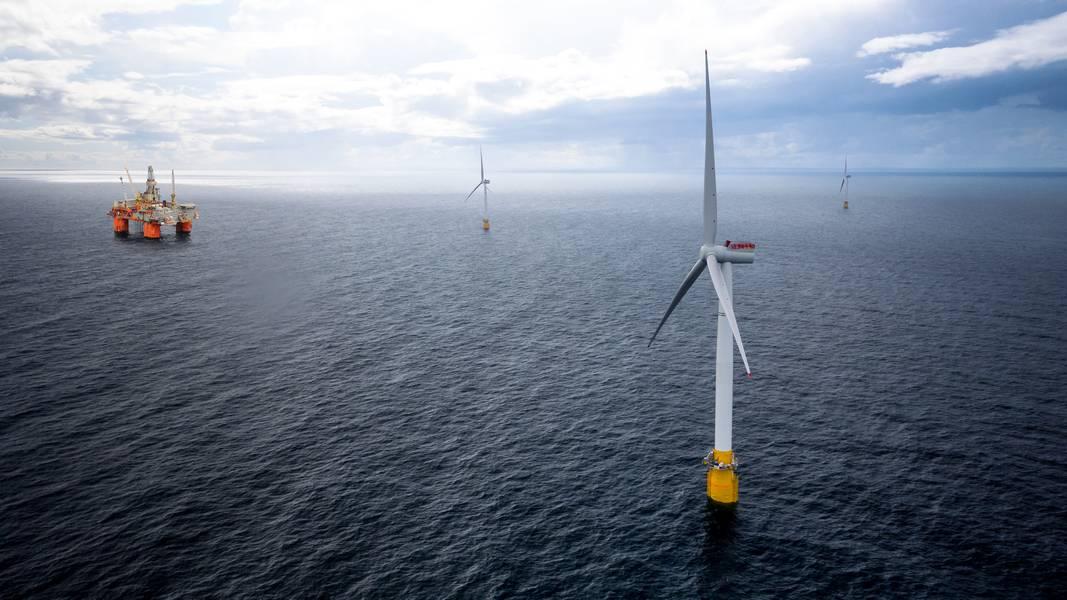 Equinor的Hywind Tampen项目将使用浮动风力涡轮机为Snorre和Gullfaks的油气生产设施提供电力。图片:Equinor)