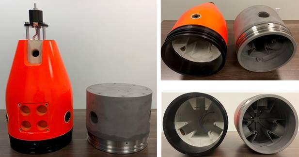 """Figura 4. Nylon impreso en 3D estándar (300 m) y nuevo Titanio impreso en 3D (1500 m) Sección de cola de 7.5 """". (Foto: marea baja)"""