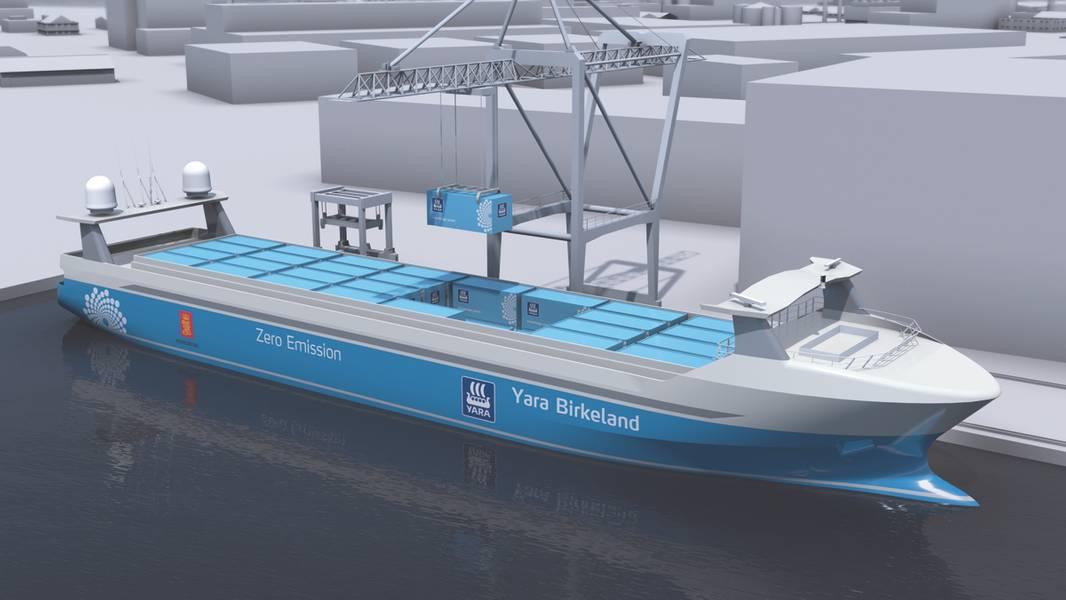 Kongsbergs unbemanntes Containerschiffkonzept Yara Birkeland. (Bild: Kongsberg)
