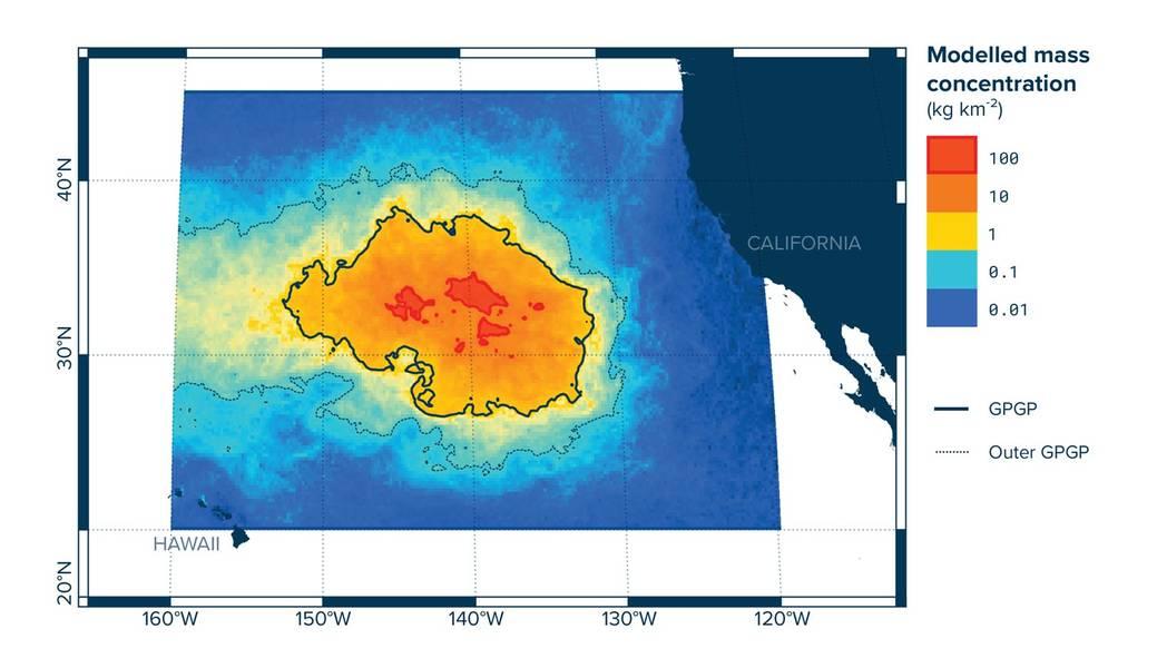 Modellierte Massenkonzentration von Kunststoffen im Great Pacific Garbage Patch (Bild: The Ocean Cleanup Foundation)