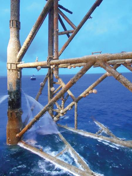Molva Molva, ein gewöhnlicher Leng, schwimmt in einem beinahe korallenriffähnlichen Lebensraum, der durch die Infrastruktur von Öl und Gas geschaffen wird. Bild von Insite.