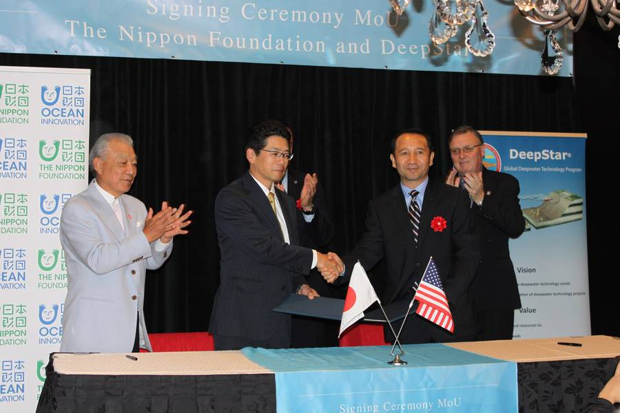Nippon Foundation y Deepstar firmaron un MOU en Houston. Foto: Greg Trauthwein