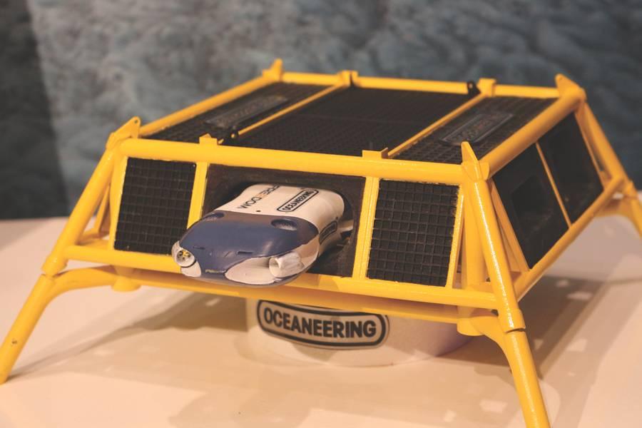 Oceaneering的自由概念,在奥斯陆的Subsea Valley会议上以3D打印的模型形式展示。 (照片:Elaine Maslin)