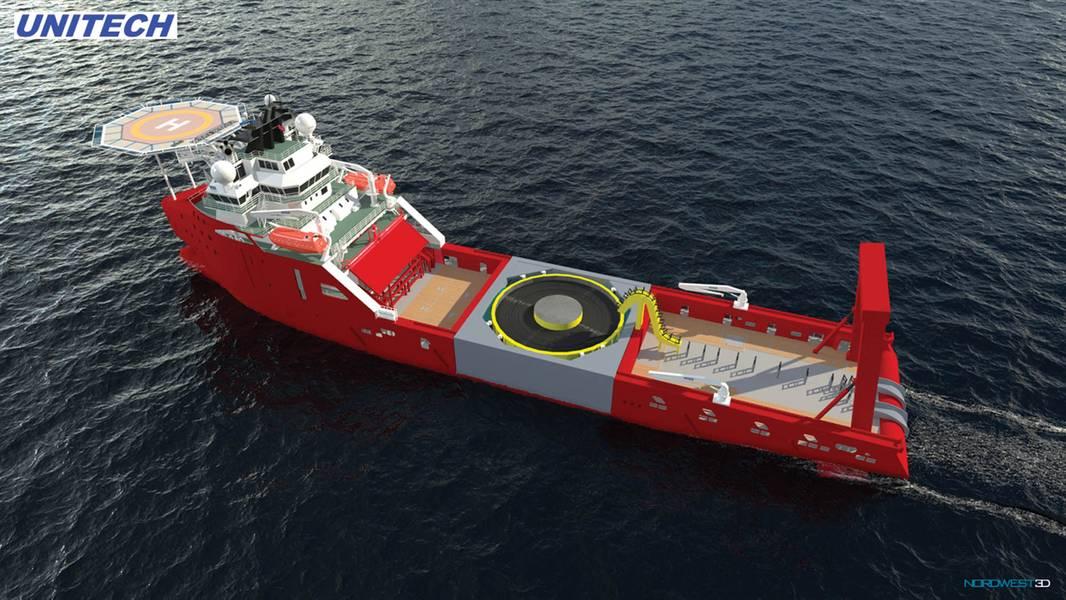 Retrofit: novo trabalho em vento para uma embarcação de manuseio de âncoras. Ilustração: cortesia Unitech