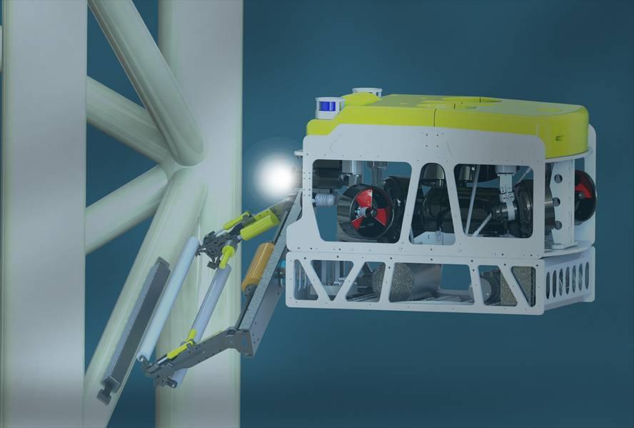 Το Saab Seaeye Cougar XT είναι το μοναδικό σύστημα με ισχύ για τη λειτουργία του εργαλείου αντικατάστασης της Anode SubC και επίσης λειτουργεί σε ισχυρά ρηχά ρεύματα νερού. (Χορηγία εικόνας από την SubC Partner)