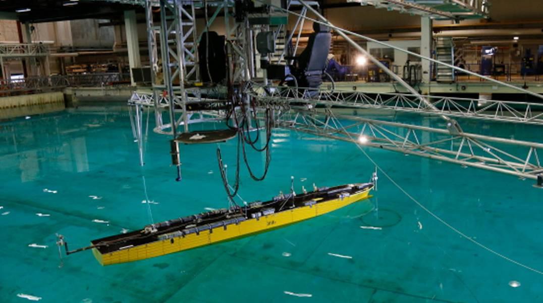 Sus pruebas en el mar, aquí: una cuenca de prueba SINTEF. Crédito: SINTEF