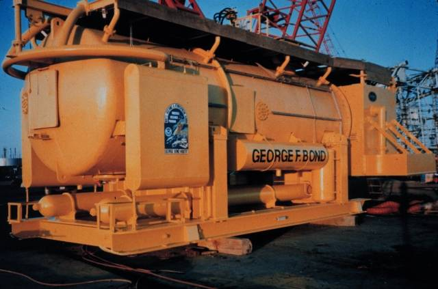 El hábitat del ACUARIO de NURP recibió su nombre de George Bond, Pappa Topside. (Crédito de la foto: OAR / Programa Nacional de Investigación Submarina (NURP))