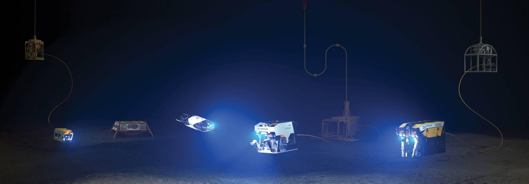La línea ROV de Oceaneering con los vehículos de próxima generación Freedom y E-ROV incluidos. Cortesía de Oceaneering International