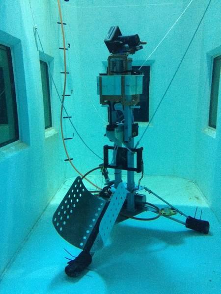 El sonar general durante las pruebas en el tanque de agua salada de la Universidad de Washington. (Crédito: Yann Marcon, Universidad de Bremen / MARUM)