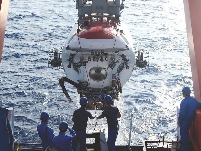 O submersível Jiaolong de 7.000 m (Imagem: Professor Cui Weicheng, Universidade do Oceano de Xangai)