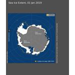 Figure 1: Sea ice extent for January 1, 2019 (Photo: NSIDC)