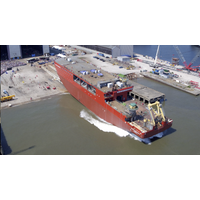 The 10,000-metric-ton hull of the RRS Sir David Attenborough glides into the water (Photo: BAS)