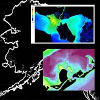 32,000 miles of Alaskan coastline pose a challenge and an opportunity for Satellite Derived Bathymetry. Technologies developed to survey water clarity in daily satellite imagery (upper right inset) can be used as a tool to determine precise collection of high-resolution imagery for Satellite Derived Bathymetry surveying (lower right inset). Image courtesy TCarta
