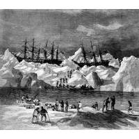 Abandonment of the whalers in the Arctic Ocean, September 1871, including the George, Gayhead, and Concordia. This illustation originally ran in Harper's Weekly in 1871. (Credit: Robert Schwemmer Maritime Library)
