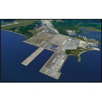 Aerial view of the Port of Davisville at Quonset Business Park.