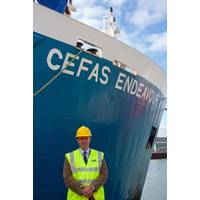 New Cefas CEO Tom Karsten, R/V Endeavour home port, Lowestoft, Suffolk, UK. (Photo: Cefas)