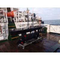 Cefas' Wave Glider Lyra secured on deck of THV Alert following recovery after a successful 48-day mission in the North Sea. (Photo: Liquid Robotics)