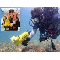 CH2M diver with Fishers DHC-2, Inset – Grieg Seafarms aquaculture technician with Fishers DV-2 drop video (Photo: JW Fishers)