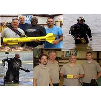 Clockwise from top left; Louisville Fire Dept dive team members with their Fisher side scan, Washtenaw County Sheriff's diver with Pulse 8X, Rochester Police dive team member with their SCAN-650 sonar, Chief David Pease of REDS Team with Pulse 6X and recovered handgun. (Photo: JW Fishers)