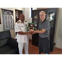 Commander Okafor of the Nigerian Navy Hydrographic Office with John Smart, Senior Geomatics Analyst-Teledyne CARIS, (Photo: Teledyne CARIS)