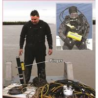 Commercial diver with recovered ADCP & pinger, Inset - diver with PR-1 receiver (Courtesy JW Fishers)